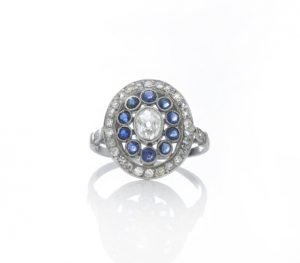 Art Deco Old Cut Diamond and Sapphire Cluster Ring in Platinum