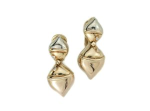 Vintage Bvlgari 18ct Yellow Gold and Diamond Clip On Earrings, c.1990s