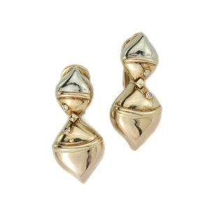 Vintage Bvlgari 18ct Yellow Gold and Diamond Clip On Earrings, Bulgari 18ct gold earrings with diamond accents, Made in Italy, Circa 1990's