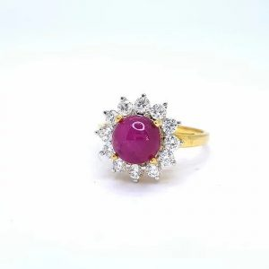 Cabochon Burma Ruby and Diamond Cluster Ring in 18ct Yellow Gold