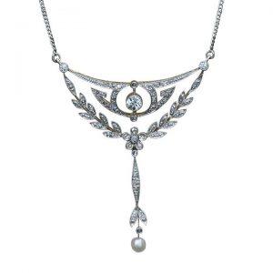 Antique Edwardian Diamond and Pearl Floral Drop Pendant Necklace