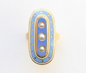 Antique Georgian Blue Enamel, Pearl and 18ct Gold Oval Mourning Ring