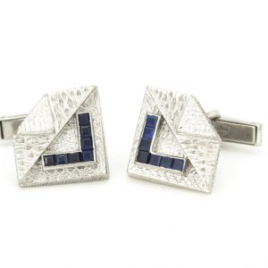 Vintage Kutchinsky Sapphire and 18ct White Gold Cufflinks, set with 0.70cts square-cut sapphires, Made in London 1965, Fully hallmarked.