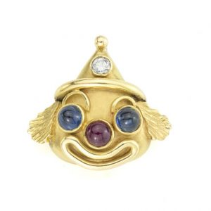 Vintage Deakin and Francis Gem Set 18ct Yellow Gold Clown Pendant; set with a diamond, cabochon sapphires and a ruby, with initials RD, Birmingham 1979