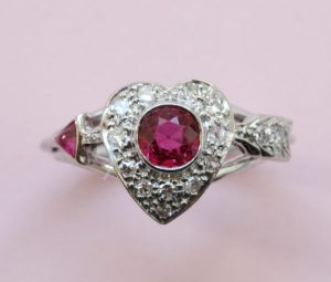 Vintage 1950s Ruby and Diamond Heart and Arrow Ring