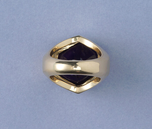 Vintage Tiffany and Co 13.5ct Amethyst Hexagonal Asymmetrical Ring in 18ct Yellow Gold, Signed, Paloma Picasso, Circa 1980