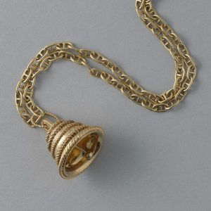 Van Cleef and Arpels 18ct Yellow Gold Bell Pendant; functioning bell decorated with five horizontal stripes of twisted gold wire. Signed and numbered: Van Cleef & Arpels, NY, 10 V 17249