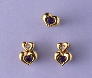Van Cleef and Arpels Amethyst and 18ct Gold Heart Shaped Ring Earrings
