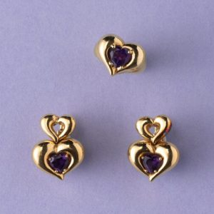 Van Cleef and Arpels Amethyst and 18ct Gold Heart Shaped Ring and Earrings Suite; Signed and numbered: Van Cleef & Arpels, Circa 1990.