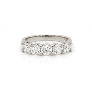 Five Stone Diamond Ring, 1.25cts, Set in Platinum