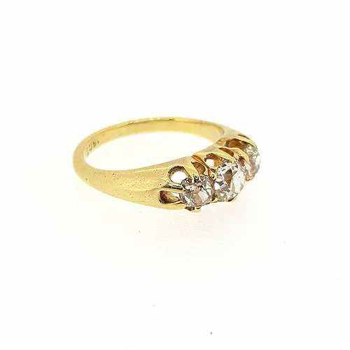 Traditional Old Cut Diamond Three Stone Ring, 1.00 carat total, in 18ct yellow gold.