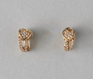 Boucheron Vintage Diamond and 18ct Gold Heart Clip on Earrings