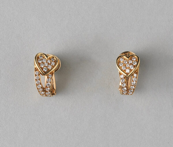Boucheron Vintage Diamond and 18ct Gold Heart Clip on Earrings; set with 0.92cts brilliant-cut diamonds, in original case, Signed and numbered, Circa 1960.