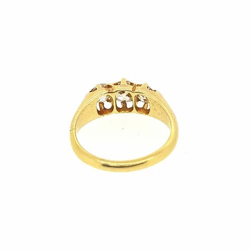 1.00ct Old Cut Diamond Three Stone Ring, in 18ct yellow gold.