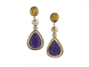 Vintage French Amethyst, Diamond and Citrine Clip On Drop Earrings