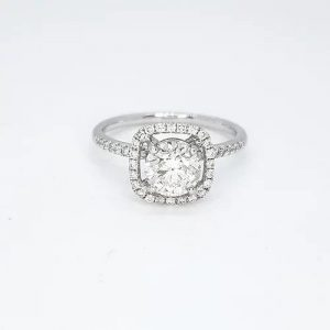 Diamond Halo Cluster Ring, 1.35 Carat Total, in 18ct White Gold