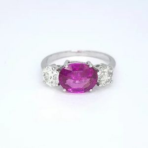 2.30ct Pink Sapphire and Diamond Three Stone Ring in 18ct White Gold