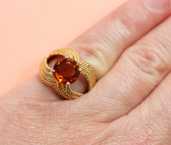 Boucheron Vintage Orange Garnet and 18ct Yellow Gold Cocktail Ring. Signed and numbered, Circa 1960