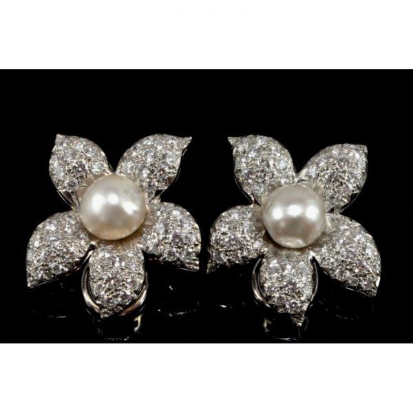Vintage 1950s Natural Pearl and 11.00ct Diamond Flower Clip On Earrings