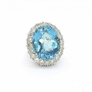 23.85ct Aquamarine and Diamond Oval Cluster Cocktail Ring