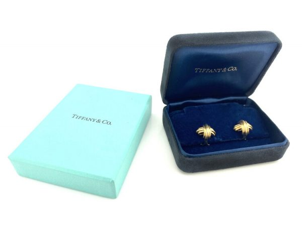 Tiffany and Co 18ct Yellow Gold Domed Cross Clip On Earrings. Comes in original box.