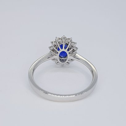 1.21ct Sapphire and Diamond Cluster Ring, 18ct White Gold