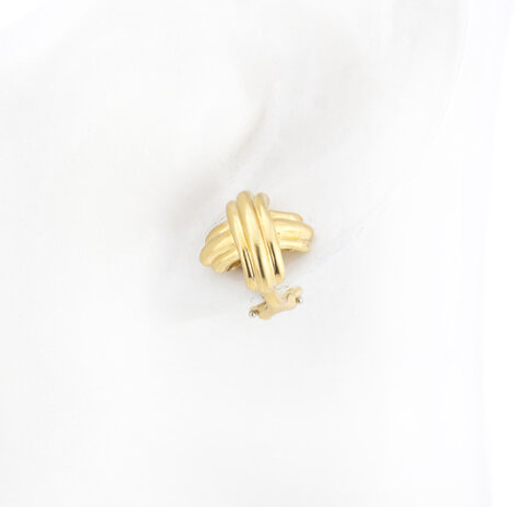Tiffany and Co 18ct Yellow Gold Domed Cross Clip On Earrings, with original box.