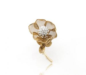 Cartier 2.25ct Diamond and Gold Articulated Rose Flower Brooch