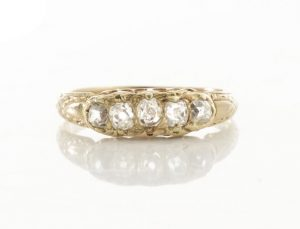 Antique Victorian Old Cut Diamond Five Stone Ring