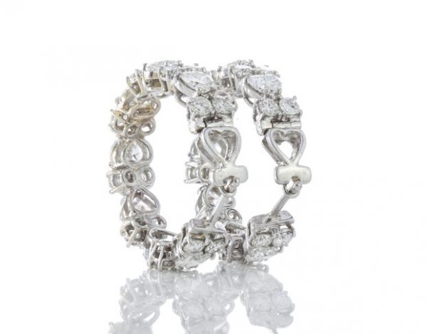 Heart Cut Diamond and 18ct White Gold Hoop Earrings; set with heart-cut and round brilliant-cut diamonds, 6.70 carat total.Circa 2000's