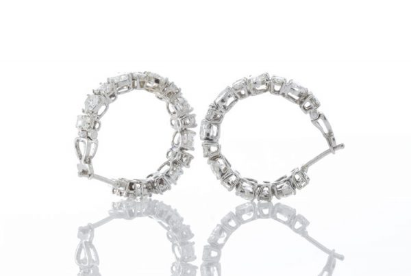 Heart Cut Diamond and 18ct White Gold Hoop Earrings; set with heart-cut and round brilliant-cut diamonds, 6.70 carats.Circa 2000's