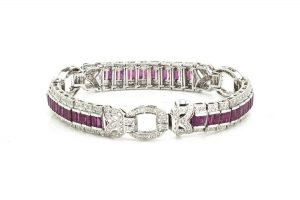 Vintage 2.4ct Baguette Cut Ruby and Diamond Bracelet, 18ct White Gold