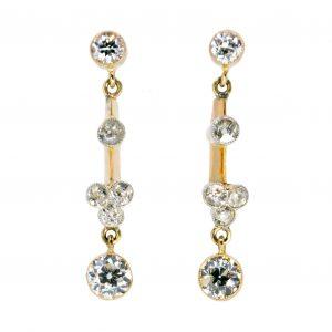 Antique Art Deco 2.10ct Diamond Drop Earrings