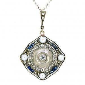 Antique Art Deco Diamond, Pearl and Sapphire Pendant