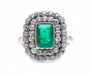 Antique Edwardian 1.30ct Colombian Emerald and Diamond Cluster Ring