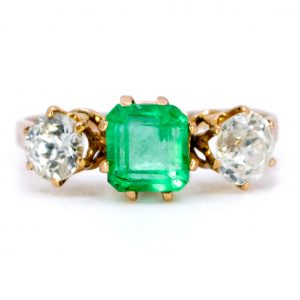 Antique Victorian Emerald and Diamond Three Stone Ring