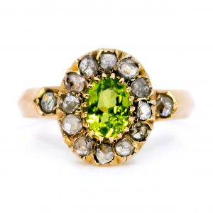 Antique Victorian Peridot and Rose Diamond Ring