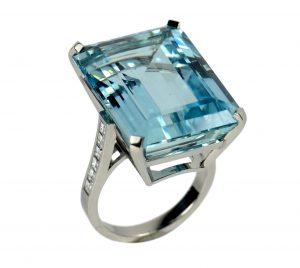 32.70ct Aquamarine and Diamond Cocktail Ring in Platinum