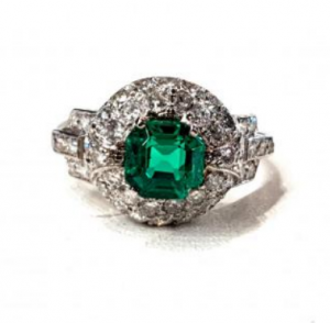Art Deco Antique 1.05ct Colombian Emerald and Diamond Ring