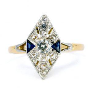 Art Deco Antique Old European Cut Diamond and Sapphire Ring