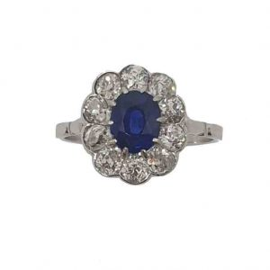 Art Deco Antique Sapphire and Diamond Cluster Ring