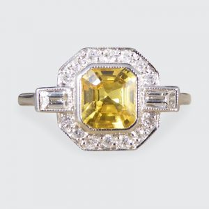 Art Deco Style 1.20ct Yellow Sapphire and Diamond Platinum Ring