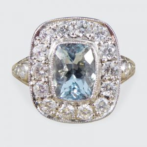 Art Deco Style 1.50ct Aquamarine and Diamond Cluster Ring