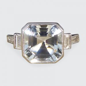 Art Deco Style 1ct Aquamarine and Baguette Cut Diamond Ring