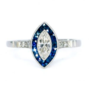 Art Deco Style Marquise Cut Diamond and Sapphire Target Ring