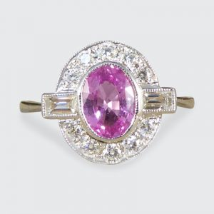 Art Deco Style Pink Sapphire and Diamond Cluster Ring