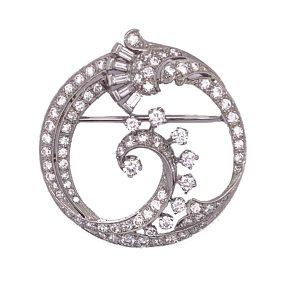 Antique Art Deco Diamond Circular Platinum Brooch, by Caldwell