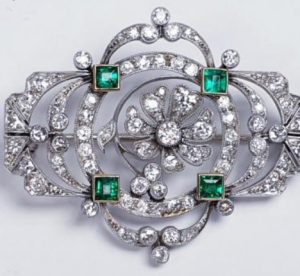 Belle Epoque Antique Emerald and Diamond Brooch