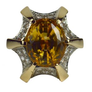 16ct Citrine and Diamond Oval Cocktail Ring in 18ct Gold