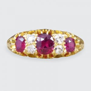 Edwardian Antique Vibrant Ruby and Old Cut Diamond Ring